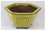 Bonsai Pot, Hexagonal, 11cm, Yellow, Glazed